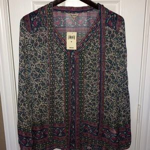 NWT lucky brand M Blouse with neck tie